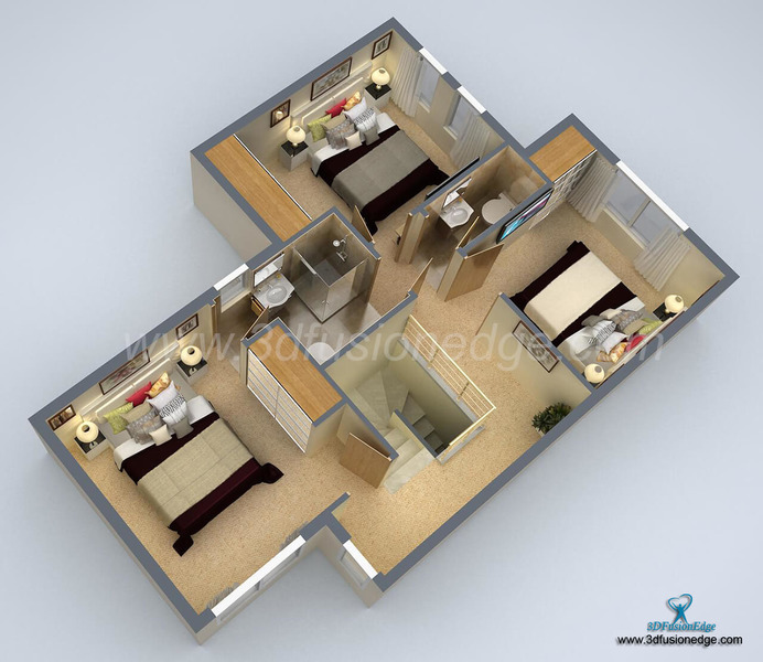 Architectural 3d Floor Plan Rendering: Small House 3D Floor Plan Rendering