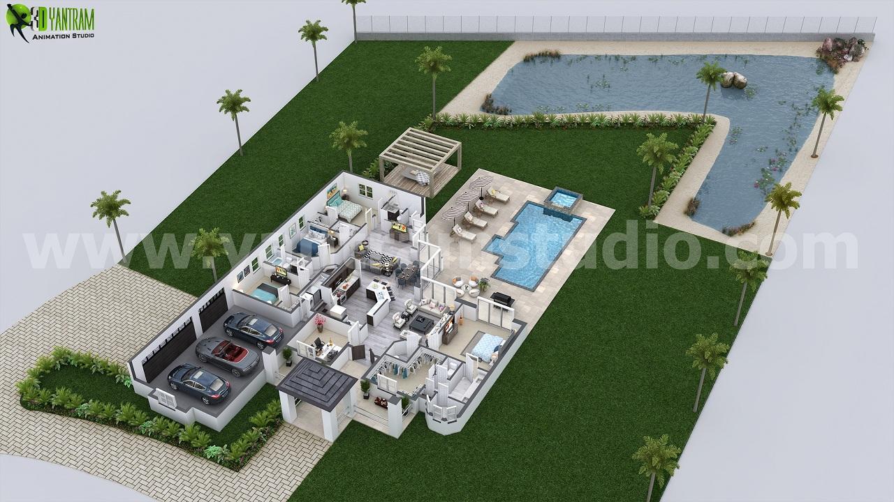 Birds Eye View Open 3D Floor Plan Design Ideas Florida USA