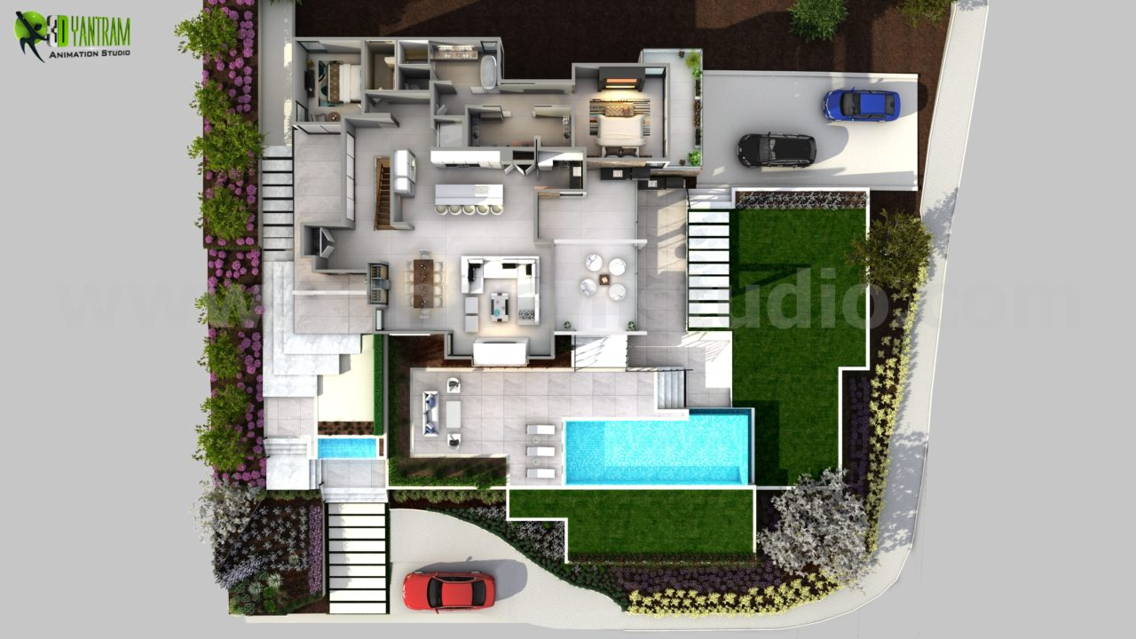 3d floor plan of modern house melbourne australia by for 3d home floor plan design