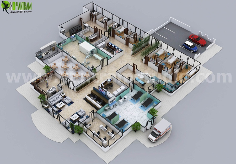 Hospital floor plan concept design by yantram for Concept of space in architecture pdf